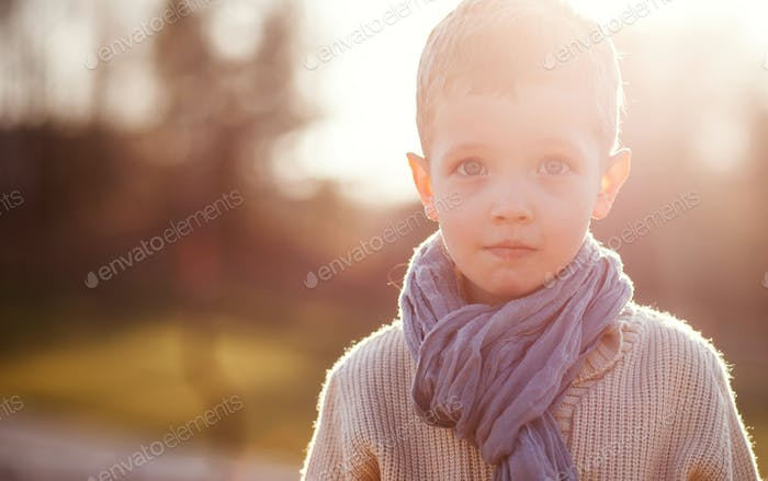 Little boy in sweater and scarf