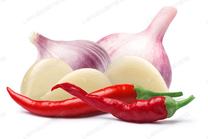 Garlic with cayenne pepper, paths