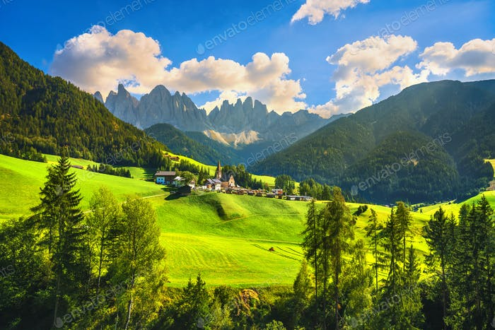 Funes Valley Santa Magdalena view and Odle mountains, Dolomites Alps, Italy.