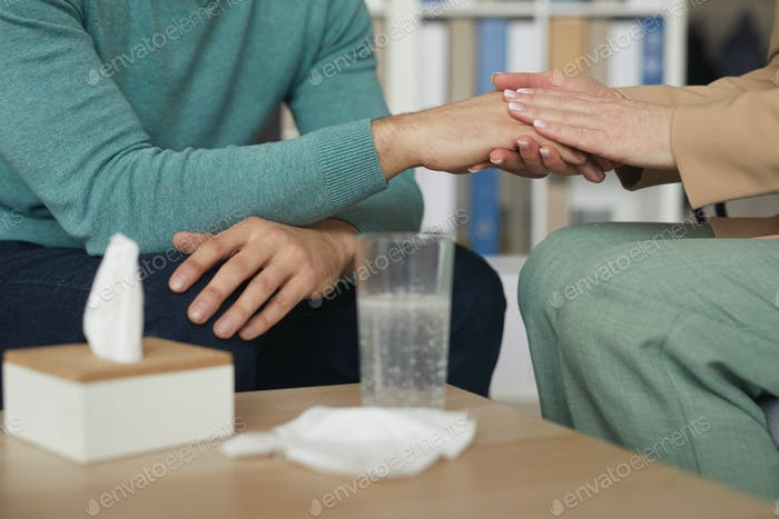 Woman calming a man