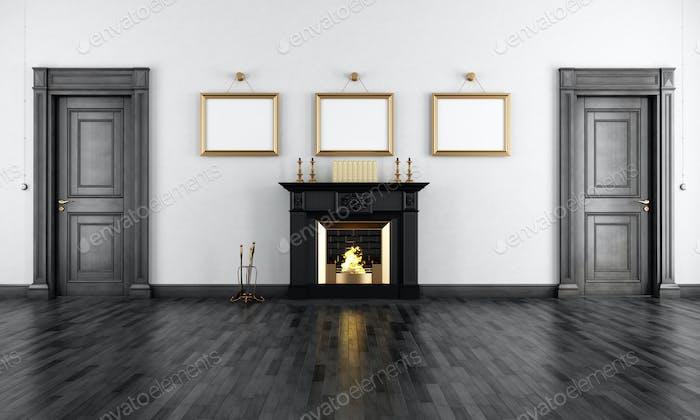 Vintage livingroom with fireplace