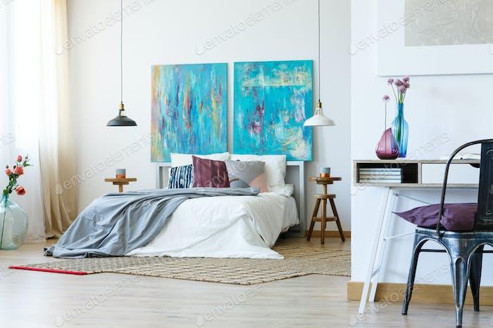 Stylish grey bedclothes