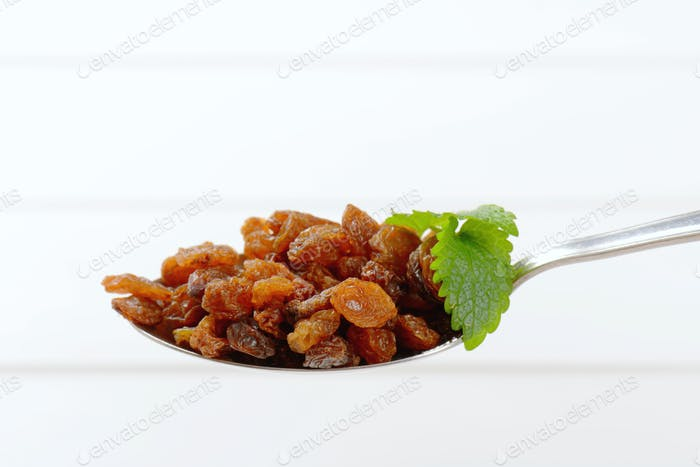 spoon of sweet raisins