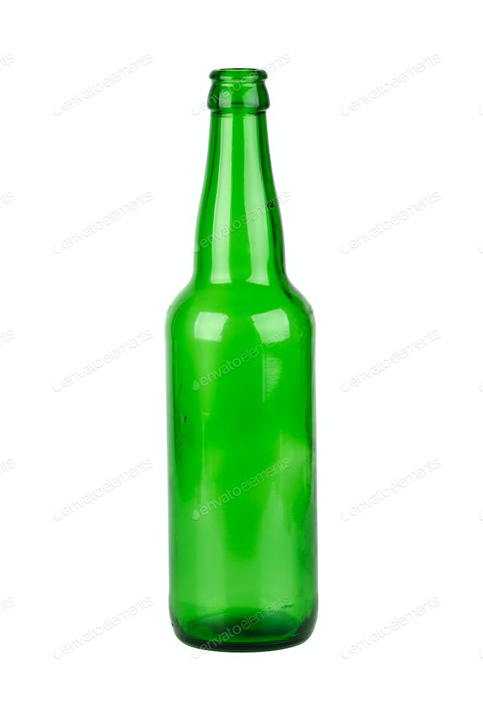 Empty green beer bottle