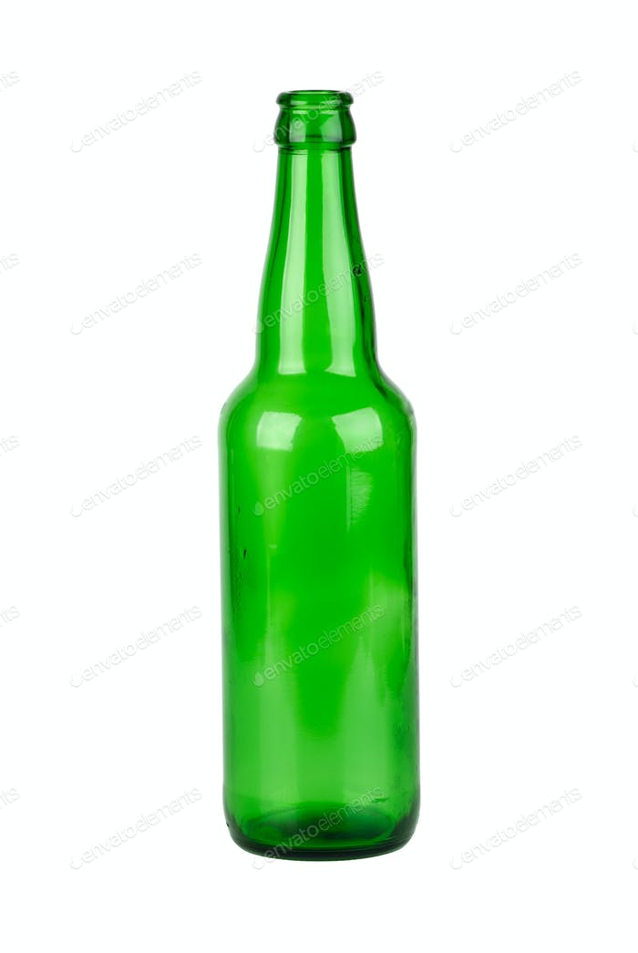 Leere grüne Bierflasche