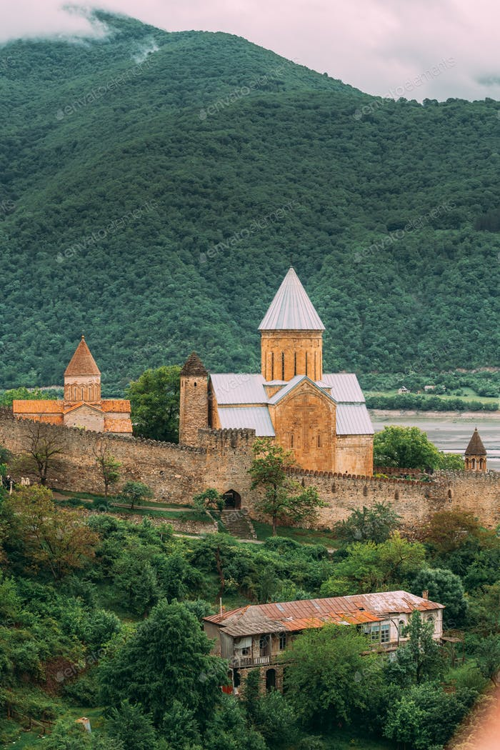 Ananuri Georgia. Church In Castle Complex About 72 Kilometres From Tbilisi. Famous Landmark