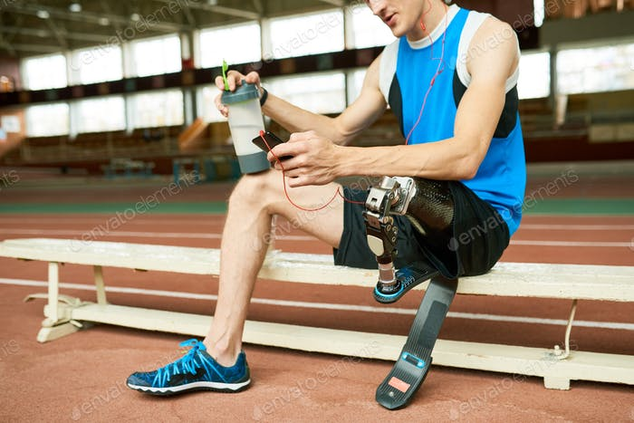 Disabled Athlete Taking Break