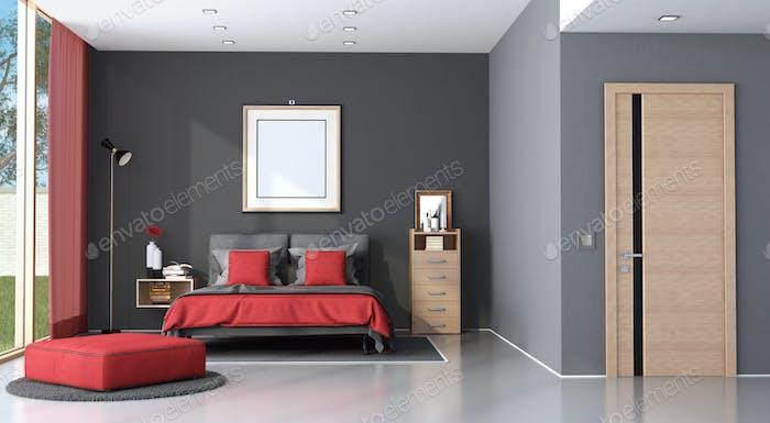 Red and black modern master bedroom