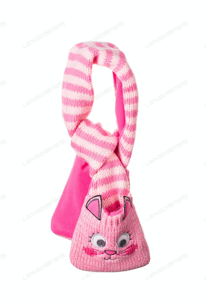Children's striped muffler-kitten.