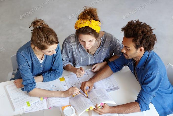 Teamarbeit. Hart arbeitende Universitätsstudenten sitzen am Tisch und zeigen auf einige Informationen in