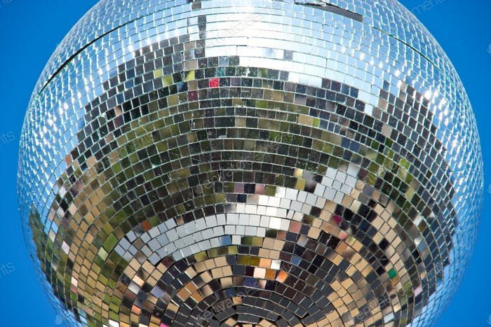 Disco ball hanging outdoors