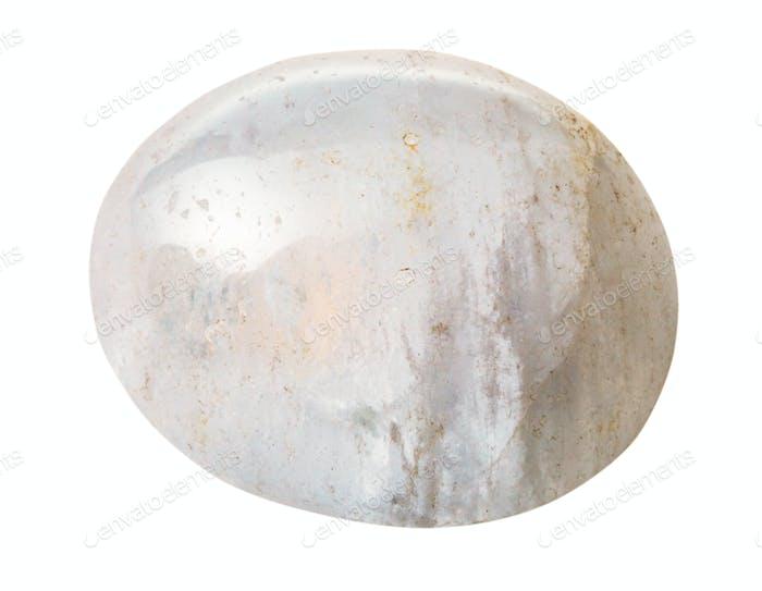 tumbled White Agate gem stone isolated