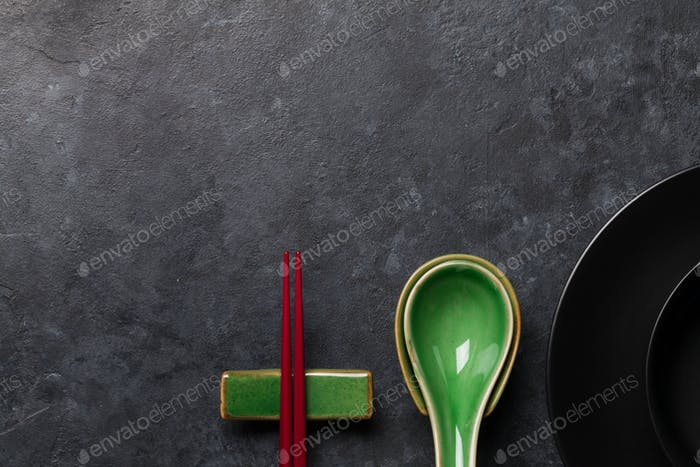 Japanese soup spoon, plates and chopsticks