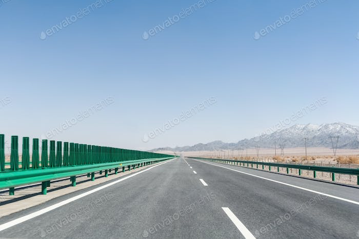 highway on gobi desert
