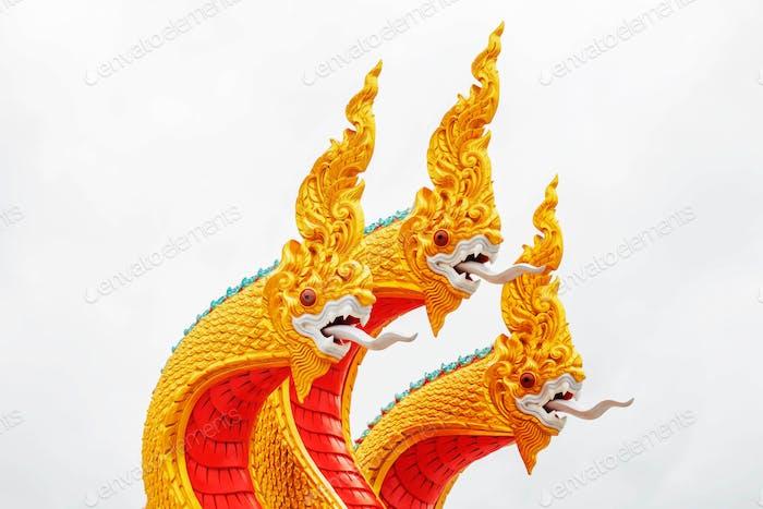 Statue of Naga on white background