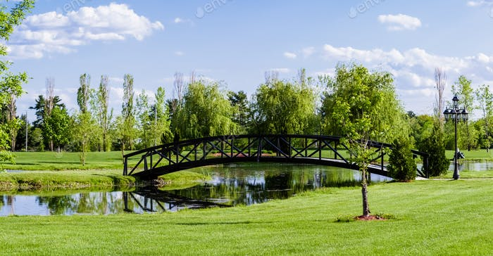Little Bridge Over a Pond