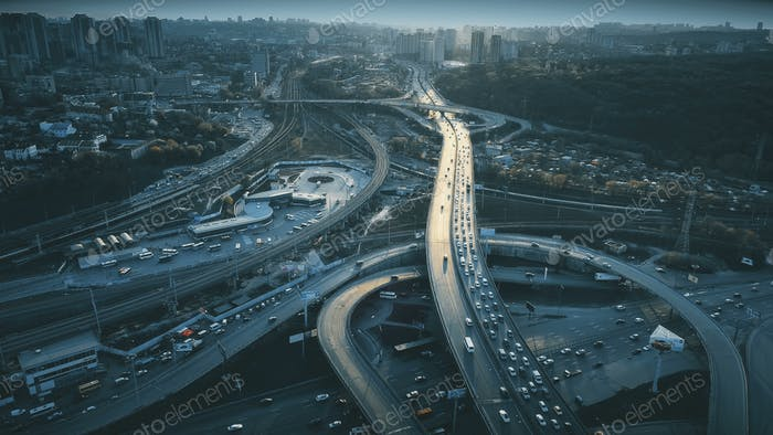 Night urban traffic road system sight aerial view