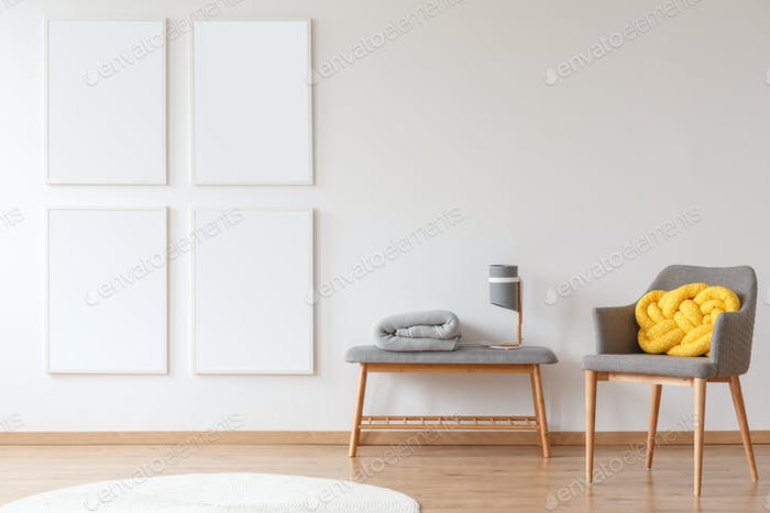 Gray furniture against white wall