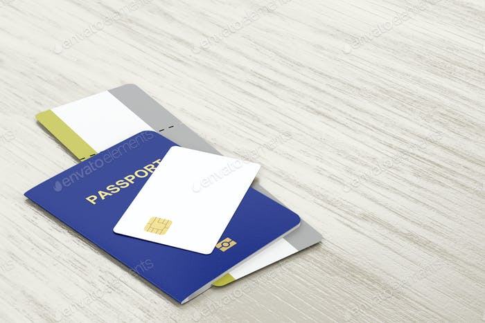 Passport, bank card and boarding pass