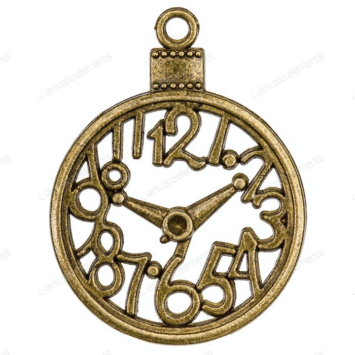 Filigree in the form of a clock, decorative element for manual w