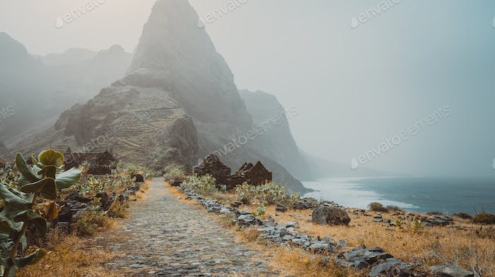 Santo Antao Island, Cape Verde. Panoramic view to Aranhas mountain peak in the valley with house
