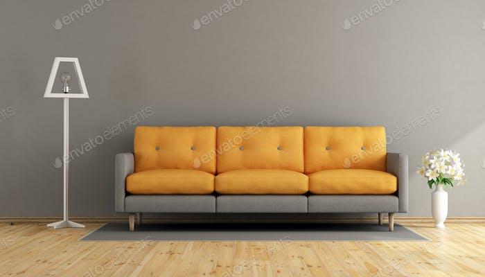 Grau und orange Wohnzimmer
