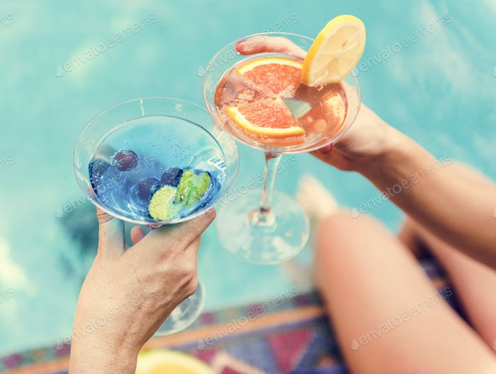 Cocktail party by the swimming pool