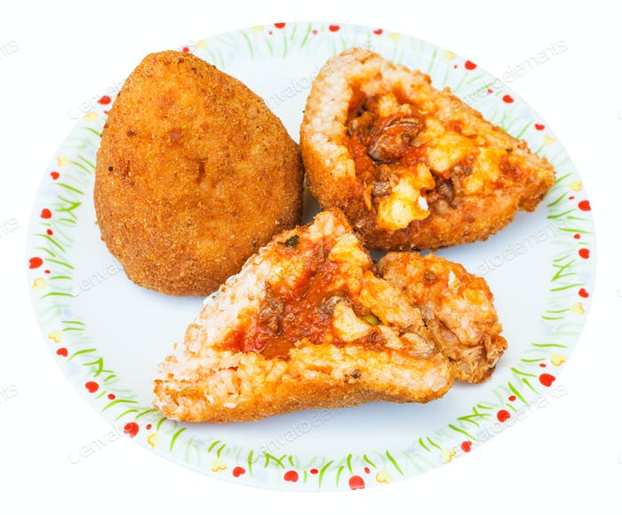ragu stuffed rice balls arancini on plate isolated