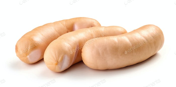 fresh boiled pork sausages