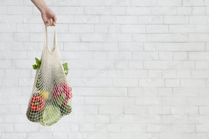 Woman holding Eco Grocery bag full of fresh vegetables