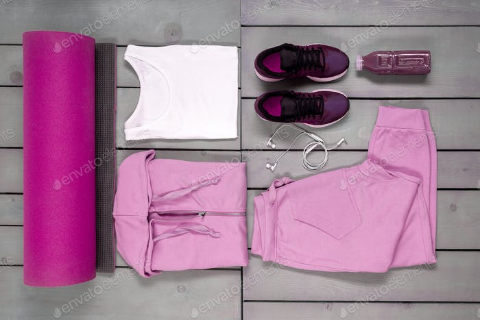 Overhead, flat lay of womans workout outfit.