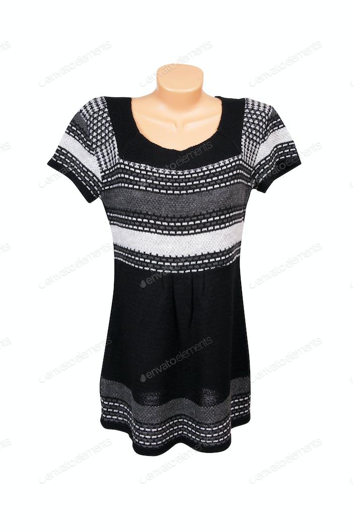 Fashionable striped dress on a white.