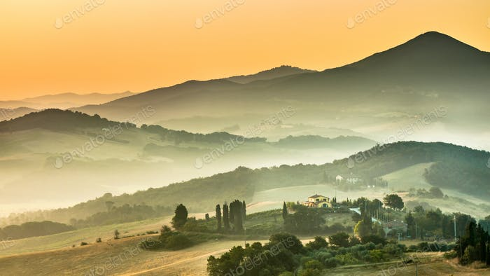 Tuscan Country during Sunrise Italy color