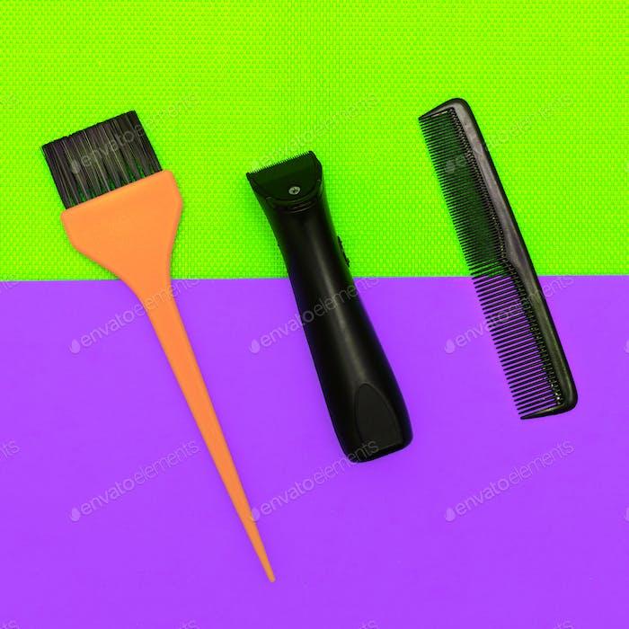 Hairdresser accessories. Hipster barbershop minimal style