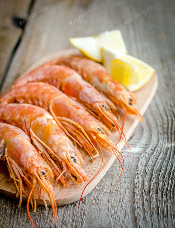 Shrimps on the wooden board
