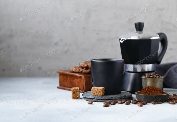 Still Life of Coffee, Grains and Ground