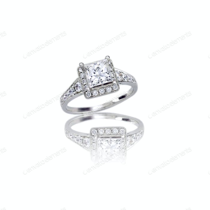 Beautiful Diamond Wedding band princess cut halo setting engagement ring