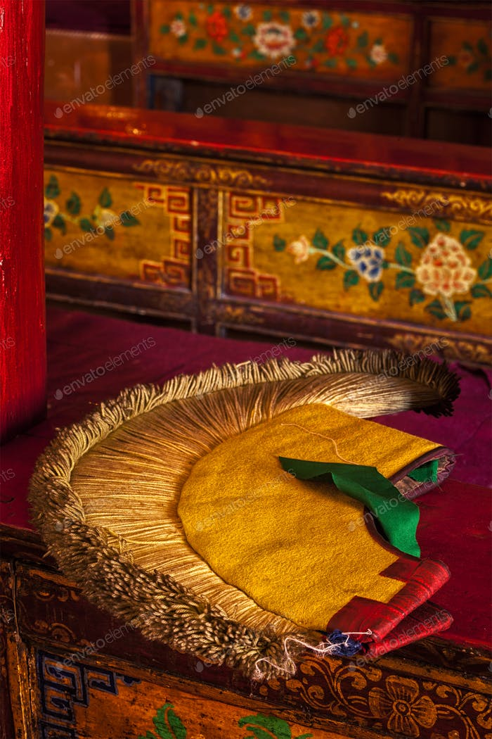 Yellow hat attribute of Tibetan Buddhism