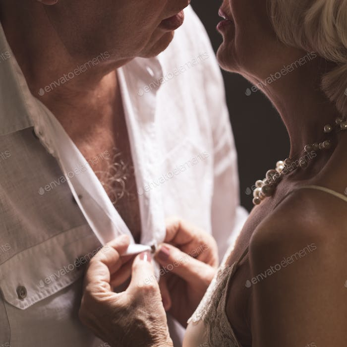 Senior marriage during intimate moments