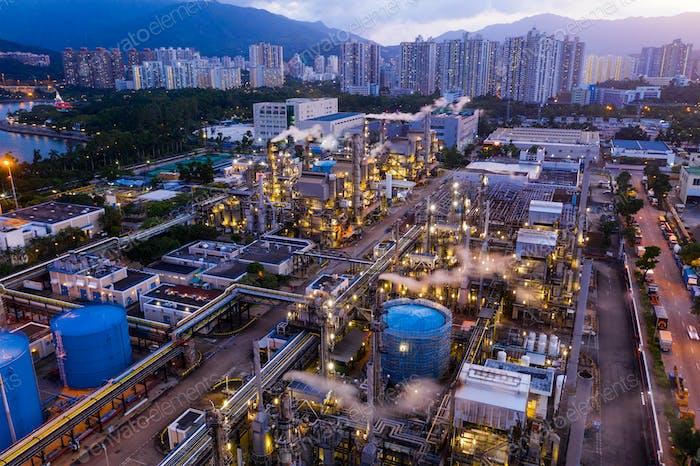 Tai Po, Hong Kong 19 May 2019: Top view of Hong Kong industrial factory plant at night