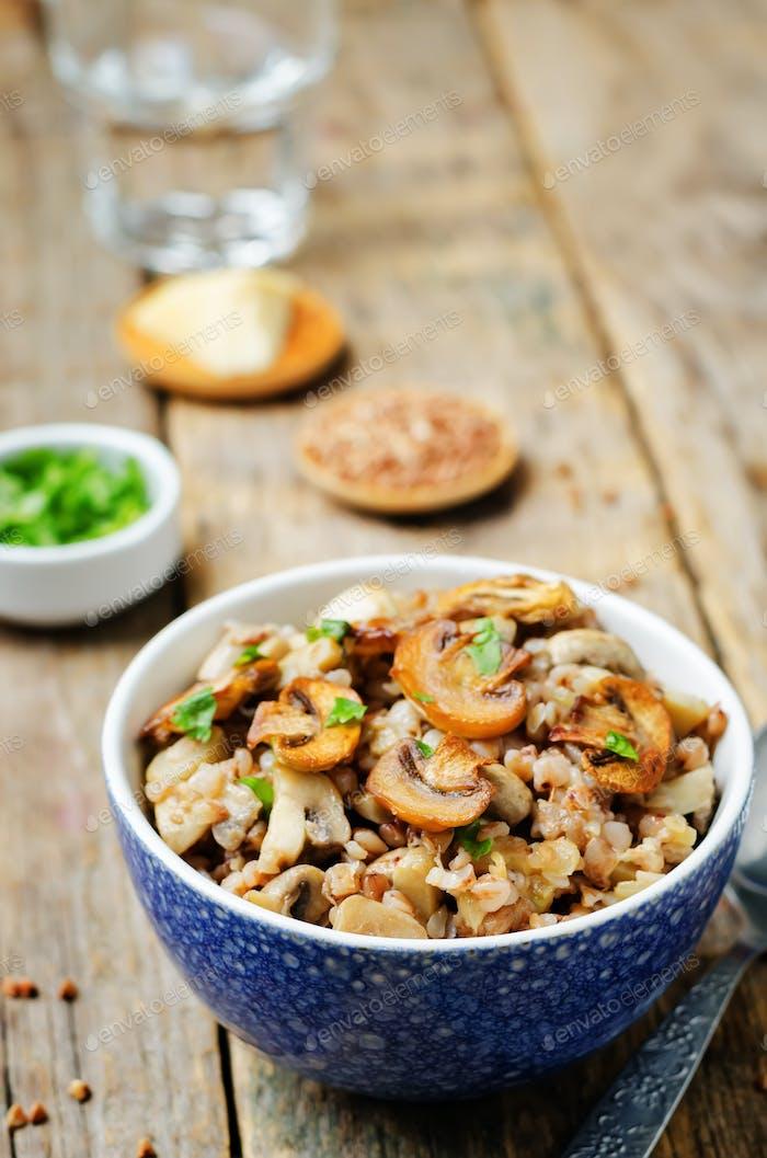 Mushrooms cheese buckwheat with parsley