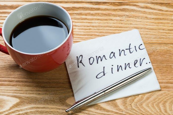 Romantic message written on napkin