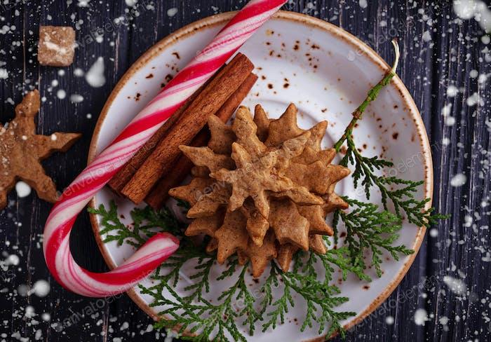 Christmas cookies in shape of snowflake