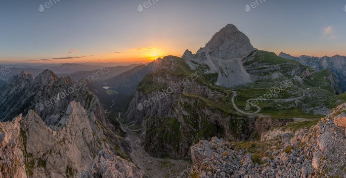 Beautiful sunrise in the Julian Alps mountains