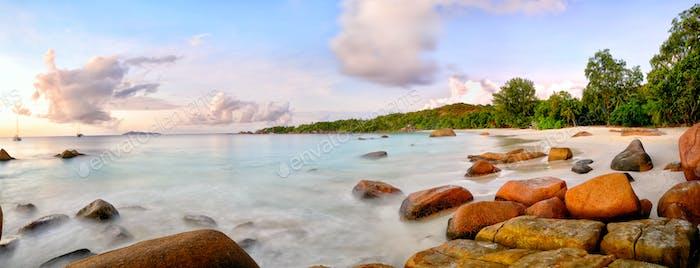 Anse Lazio beach panorama