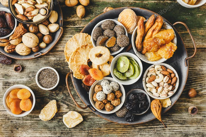 Various types of nuts and dried fruits without sugar