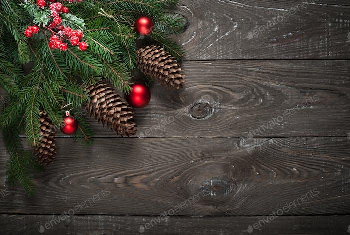 Christmas decorations present fir tree branch