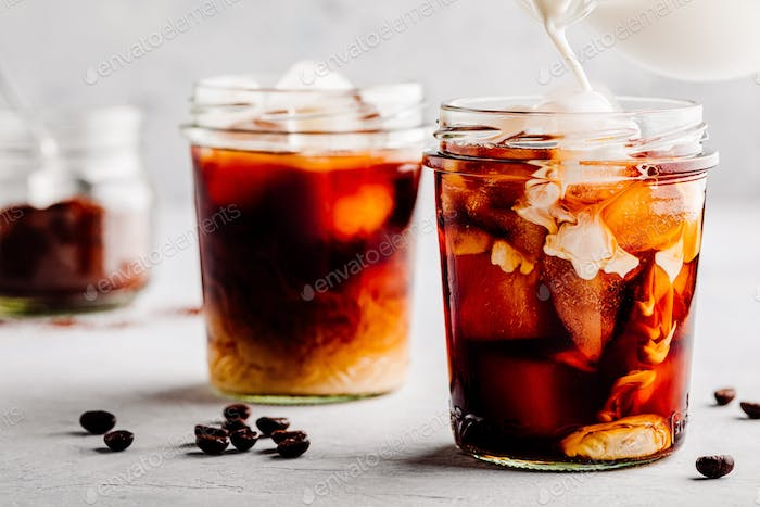 Iced Coconut Chai Tea Latte in glass jar