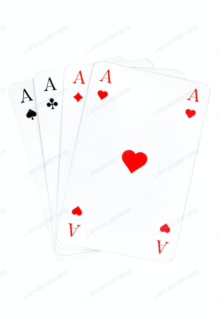 Four Aces Isolated on a White Background