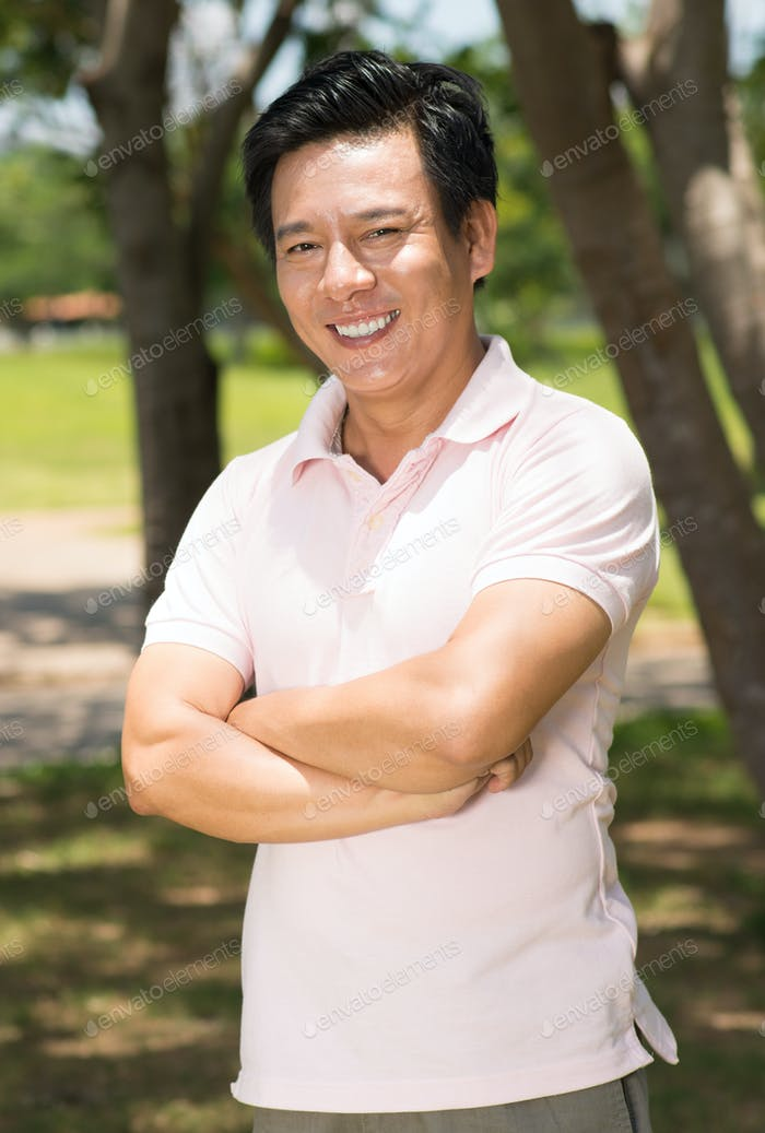 Cheerful middle-aged man